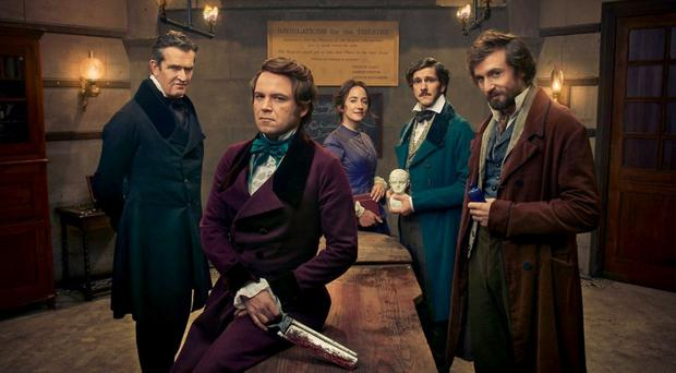 Close to the bone: Quacks, the new BBC2 comedy starring Rory Kinnear (second left) and Rupert Everett (left)