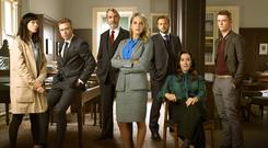 Law unto herself: Amy Huberman's Tara (centre) is even more mopey and woebegone than in the first season of legal drama Striking Out