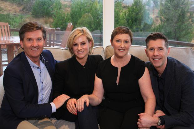 Living the dream: Daniel O'Donnell, Lisa O'Brien, Majella O'Donnell and Dermot Bannon in Room to Improve