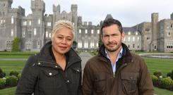 Monica Galetti and Giles Coren outside Ashford Castle, Co Mayo for Amazing Hotels: Life Beyond the Lobby