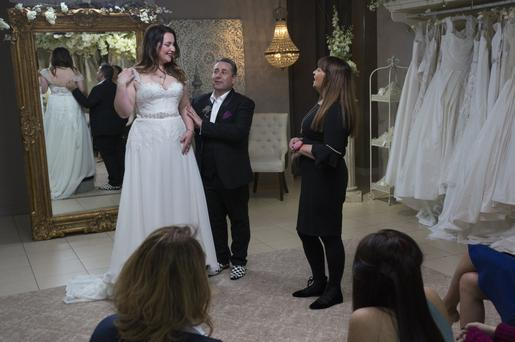 Put through the wringer: Bride-to-be Ingrid Boresia with her entourage and helpers Franc and Janice in Say Yes to the Dress Ireland