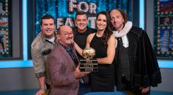 True or false games: Brendan O'Carroll and company on the set of For Facts Sake