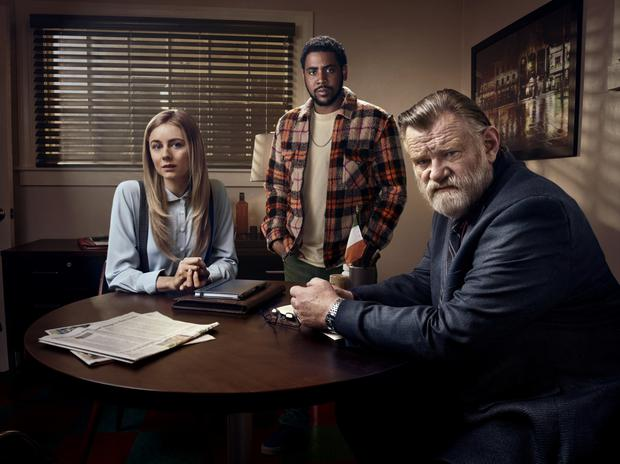 Memorable characters: Justine Lupe, Jharrel Jerome and Brendan Gleeson in Mr Mercedes