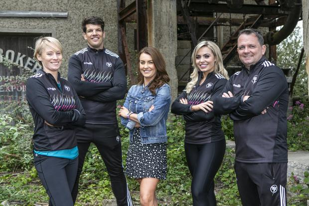Burn out: host Mairead Ronan (centre) with coaches Derval O'Rourke, Donncha O'Callaghan, Anna Geary and Davy Fitzgerald.