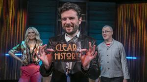 Kevin McGahern, host of RTÉ's latest derivative panel show Clear History, flanked by the team captains, Joanne McNally and the serial panellist Colin Murphy