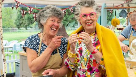 Maggie, the midwife from Dorset, on The Great British Bake Off with judge Prue Leith