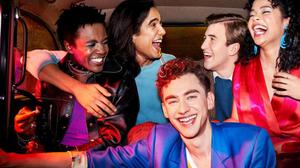 The young stars of Russell T Davies's It's a Sin, clockwise from top-left: Omari Douglas, Nathaniel Curtis, Callum Scott-Howell, Lydia West and Olly Alexander