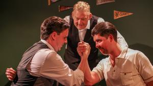 From left: Ross Gaynor as Fitzgerald, Dave Duffy as bar owner Costello and Rex Ryan as Hemingway