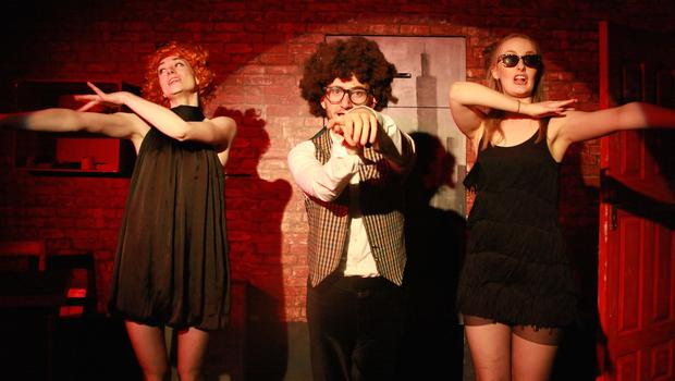 From left, Teri Fitzgerald, Kieran Roche and Ashleigh Dorrell in 'A Lesson in When to Quit'. Photo: Jeda de Brí