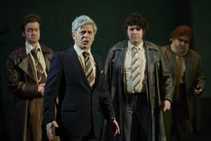 Scary and funny: Andrew Bennet as The Taoiseach with cast in The Fall of the Second Republic. Photo by Ros Kavanagh