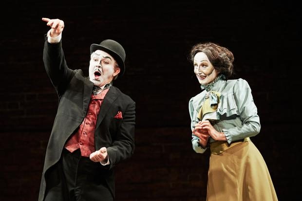 Louis Lovett (Willy Hayes) and Karen Egan (Eva St John) in The Corn Exchange's Dublin by Lamplight by Michael West in collaboration with the company, directed by Annie Ryan, at the Abbey Theatre until April 1, 2017. Photo: Ros Kavanagh
