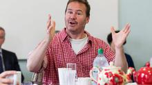 REHEARSALS: Director Conall Morrison at the first read through of the new play 'Bailed Out!' by Colin Murphy