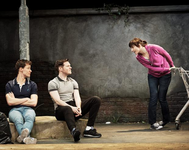 From left, Alan Mahon, Lloyd Cooney and Louise Lewis in 'The Waste Ground Party', by Shaun Dunne, a new play presented by the Abbey Theatre on the Peacock stage