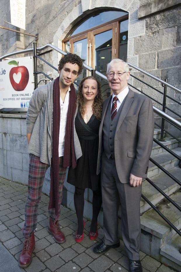 Michelle de Forge outside the Dunamaise Arts Centre along with her favourite actor, Robert Sheehan.