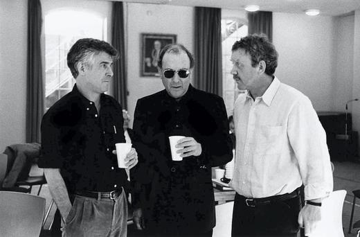 Robin Lefevre, Harold Pinter and Michael Colgan at a read through of the Homecoming in the Gate in 2001.