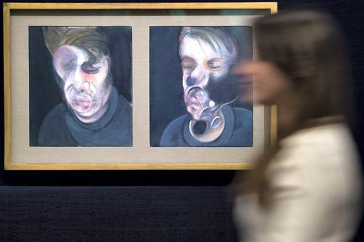 'Two Studies for Self-Portrait' by Francis Bacon during a press preview in London