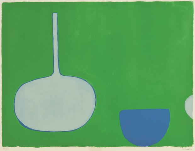 William Scott, Pan and Bowl, Blues on Green, 1970 Screenprint, The Trinity College Dublin Art Collections