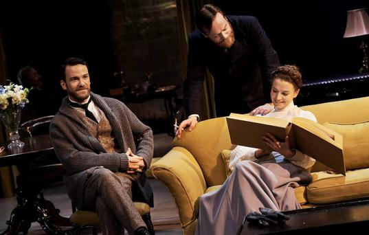 Classic theatre : From left, Keith McErlean, Peter Gaynor and Catherine Walker in Ibsen's Hedda Gabler in a new adaptation by Mark O'Rowe.