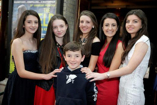 John B Keane's grandchildren (l-r) Lucy Keane Sally O'Flynn, Evelyn O'Flynn, Johnny Keane, Maggie Keane and Maimie O'Flynn at the Gaiety