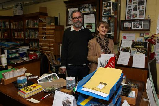 Alan Phelan, archivist and Valerie King, librarian at WB Yeats's alma mater, The High School in Rathgar, Dublin.