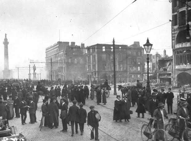 Bomb damage in Dublin following the Easter Rising in May 1916.