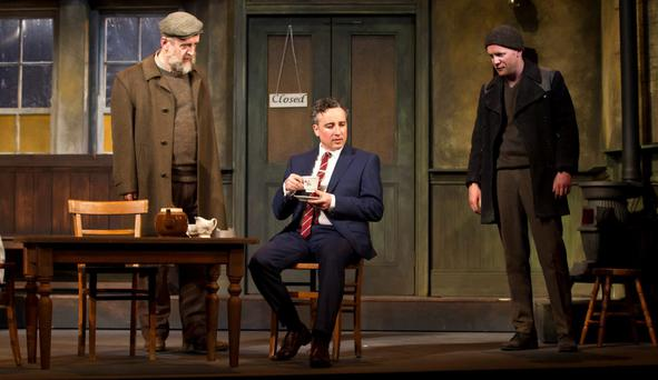 Silent evil: From left, Michael Harding, Aidan McArdle and Ian Lloyd Anderson, in the 50th anniversary production of 'The Field' by John B Keane, at the Gaiety Theatre. Photo: Patrick Redmond