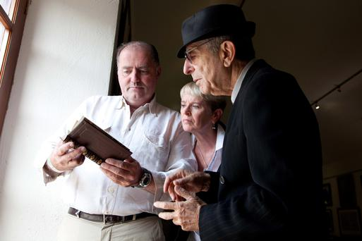 Eddie Walsh and Constance Cassidy with Leonard Cohen who officially opened the Yeats Gallery at Lissadell House in Sligo in 2010.