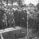 A crowd attends the funeral of Irish poet and playwright William Butler Yeats in Sligo