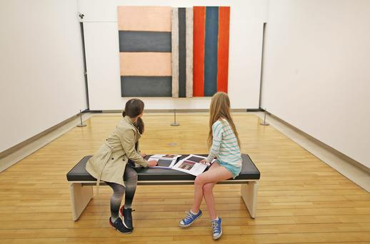 Sadhbh Cooney (10) and Rachel Burke (10) looking at one of the works by Dublin born artist Sean Scully ahead of the artist's visit to the exhibition 'Sean Scully at the National Gallery of Ireland' in the Millenium wing of the National Gallery of Ireland, Dublin