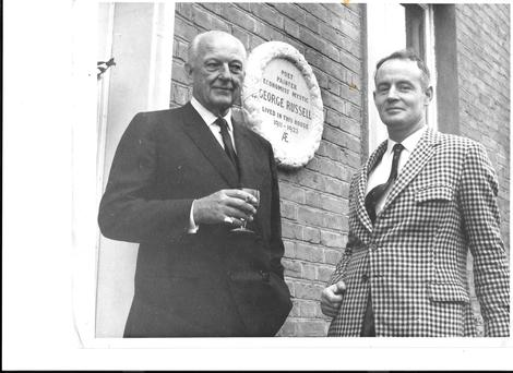 In tribute: Ulick O'Connor unveils a plaque in 1968 at a house where Russell lived on Rathgar Avenue. With him is Patrick J Lannan.