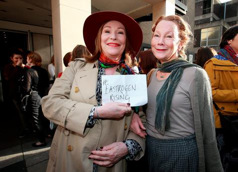 Actors Kate O Toole and Kate Thompson pictured at the WakingThe Feminists campaign calling for equality for women artists in The Abbey Theatre