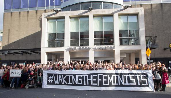 Rally around: The Waking the Feminists public meeting at the Abbey. Photo: Colin O'Riordan.