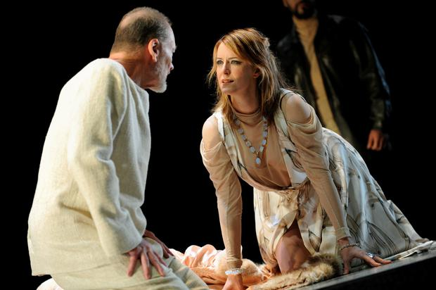 John Bell (L), who plays King Lear and Susan Prior (R) who plays his daughter Cordelia, rehearse for the upcoming Bell Shakespeare Company production of King Lear at the Sydney Opera House on March 9, 2010