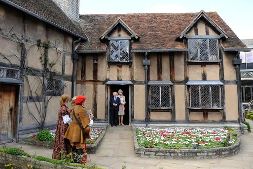 President Michael D Higgins and his wife Sabina during a 2014 visit to Shakespeare's birthplace in Stratford-Upon-Avon.