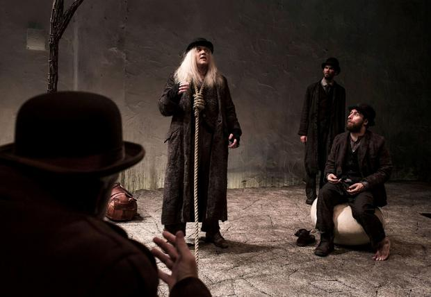 Rory Nolan, Garrett Lombard, Marty Rea and Aaron Monaghan in Druid's production of Waiting for Godot