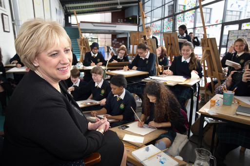 Heather Humphreys: It's politics, not art that seems to matter to the Minister for Arts - here striking a pose for art students at Colaiste Bride in Clondalkin. Photo: Tony Gavin