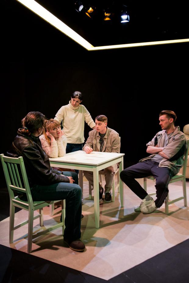 Masterly dialogue: From left, Rory Dignam, Eimear Keating, Aislinn Ní Uallacháin, Wes S Doyle and Daniel Monaghan in 'Running with Dinosaurs' at the New Theatre until April 29