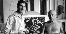 Edward Quinn and Picasso in Cannes in 1959