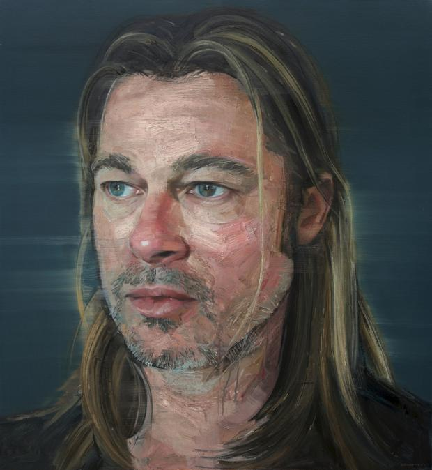 A potrait of US actor Brad Pitt who Colin Davidson helped learn to paint after some arm-twisting by the Hollywood actor