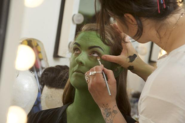 Leslie Ann Horgan in the make-up chair. Photo Rob McDougall