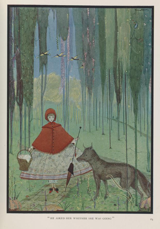 Clarke's 1922 illustration of Red Riding Hood for The Fairy Tales of Charles Perrault