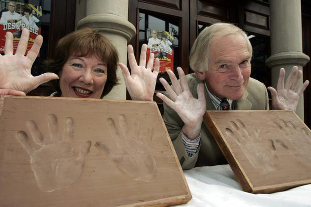 Rosaleen Linehan and fellow actor and comedian Des Keogh have their handprints taken outside the Gaiety in 2005