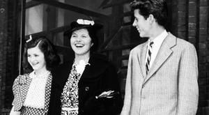 Back on US soil: Rosemary Kennedy (centre) with her sister Jean and brother John F Kennedy in 1940