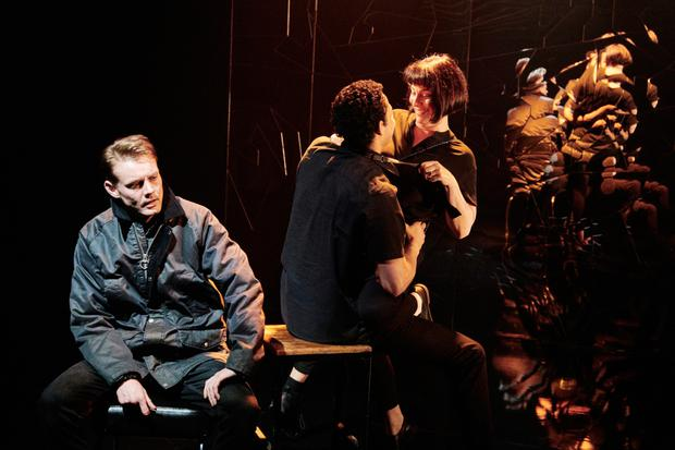 Dan Monaghan, Daryl McCormack and Clare McKenna in Citysong by Dylan Coburn Gray at the Abbey. Photo: Ros Kavanagh