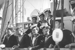 Sailors of the Irish Navy on the corvette 'Macha' taking a last look at France as they sail to Ireland with the body of William Butler Yeats for his burial in Sligo in October 1948.