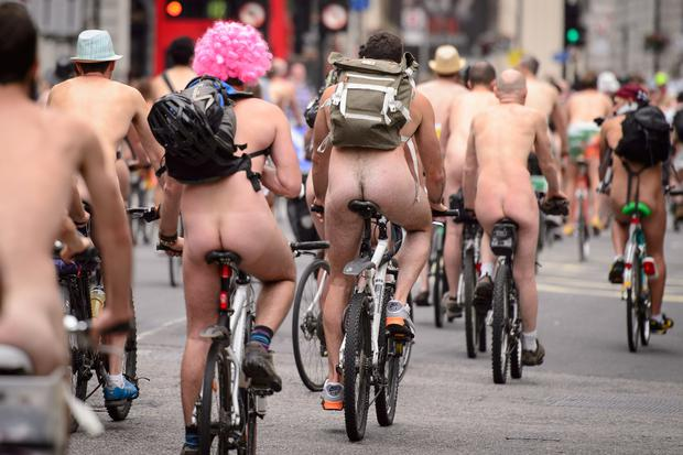 Cyclists take part in the annual World Naked Bike Ride