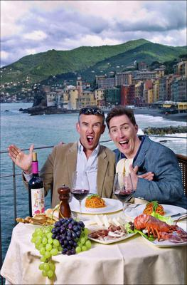 'If Steve were a man who could express his feelings, he'd say he feels closer to me' — Rob Brydon, right, with Steve Coogan in Camogli, Italy
