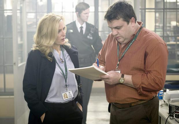 """The Fall - Series One...""""The Fall"""" Series 1. Artists Studio/BBC Picture shows Gillian Anderson who plays DCI Gibson and Simon Delaney who plays McElroy"""