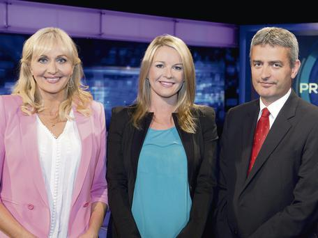 Presenters Miriam O'Callaghan, Claire Byrne and David McCullagh in studio together