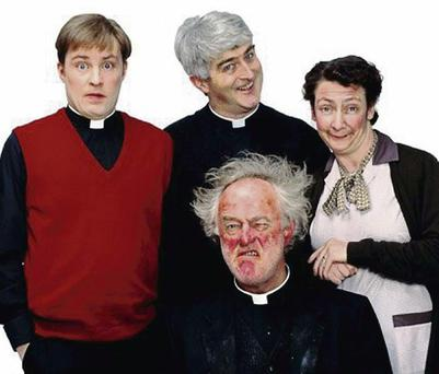 Ardal O'Hanlon as Fr Dougal with fellow cast members from Fr Ted